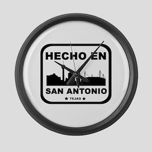 Hecho En San Antonio Large Wall Clock