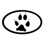 Wolf Track Pawprint Euro Oval Sticker (10 pk)