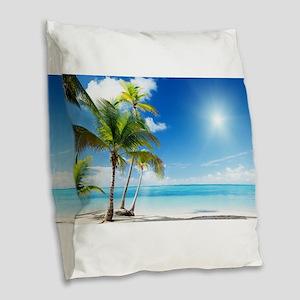 Paradise Corner Burlap Throw Pillow