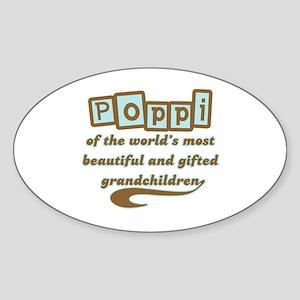 Poppi of Gifted Grandchildren Oval Sticker
