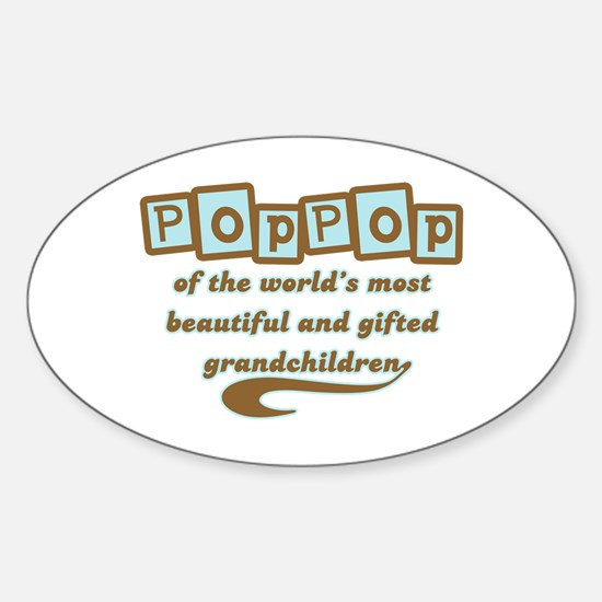PopPop of Gifted Grandchildren Oval Decal