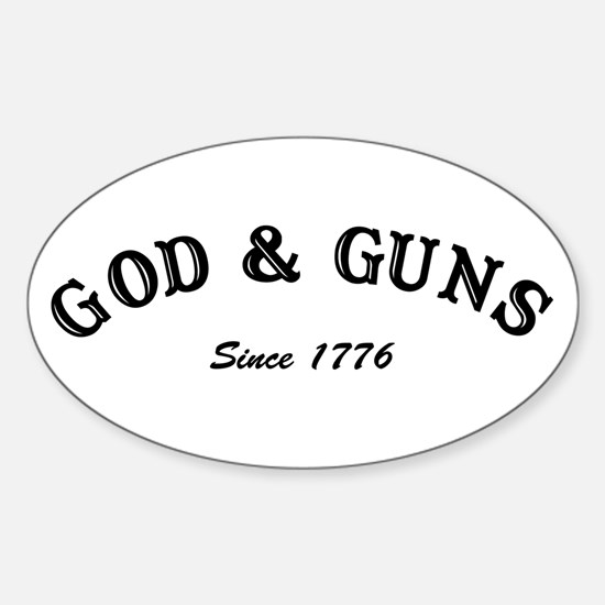God and Guns Oval Bumper Stickers