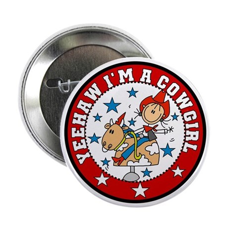 """Yeehaw Cowgirl 2.25"""" Button (10 pack)"""