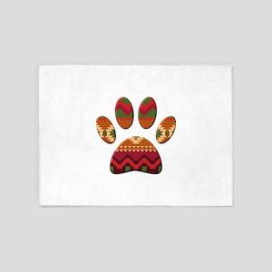 Aztec Pattern Dog Paw Print 5'x7'Area Rug