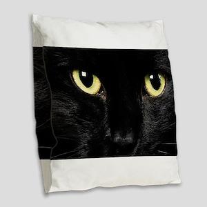 Black Cat Burlap Throw Pillow