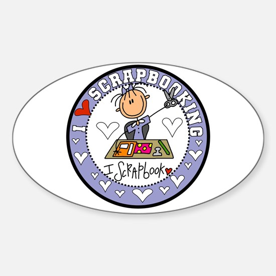 I Love Scrapbooking Sticker (Oval)