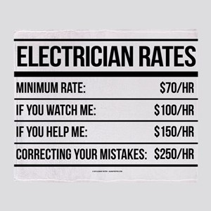 Electrician Rates Humor Throw Blanket