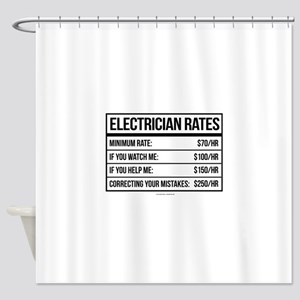 Electrician Rates Humor Shower Curtain