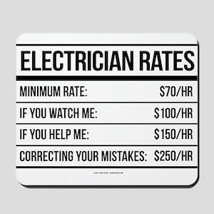 Electrician Rates Humor Mousepad