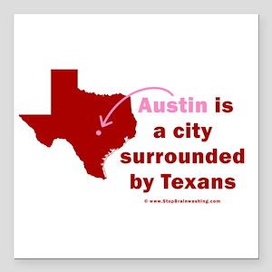 "Austin V Texans Square Car Magnet 3"" x 3"""