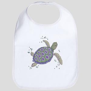 Swimming Sea Turtle Baby Bib