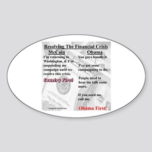"""Financial Crisis"" Oval Sticker"