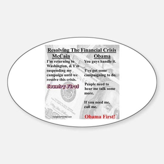 """""""Financial Crisis"""" Oval Decal"""