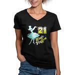 21st Birthday Women's V-Neck Dark T-Shirt