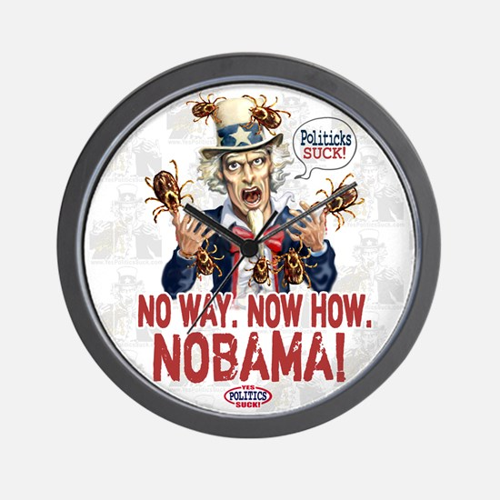 Anti-Obama Nobama Politicks Wall Clock