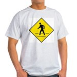Pedestrian Crosswalk Sign Ash Grey T-Shirt
