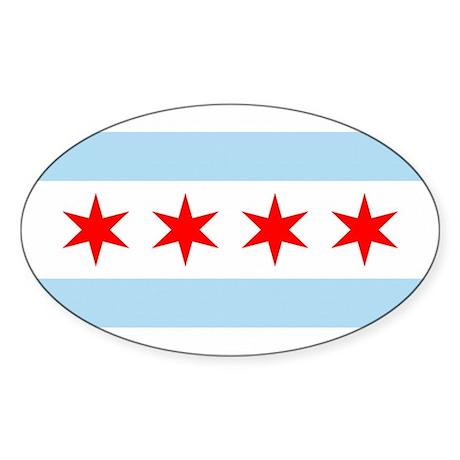 Chicago City Flag Oval Sticker (50 pk)
