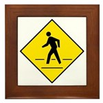 Pedestrian Crosswalk Sign - Framed Tile