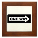 One Way Sign - Right - Framed Tile