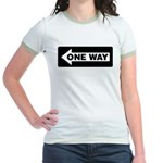 One Way Sign - Left - Jr. Ringer T-Shirt