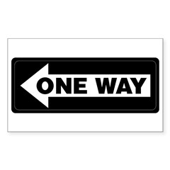 One Way Sign - Left - Rectangle Decal