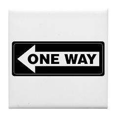 One Way Sign - Left - Tile Coaster