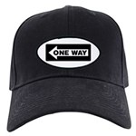 One Way Sign - Left - Black Cap