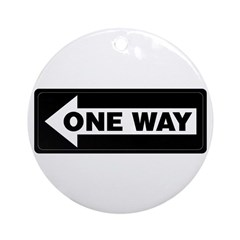 One Way Sign - Left - Keepsake (Round)