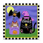 Halloween Cats & Bat Cat Tile Coaster