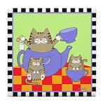 Tabby Cat & Kittens Teaparty Tile Coaster