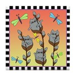 Pussy Willow Cats, Dragonflies Sunset Tile Coaster