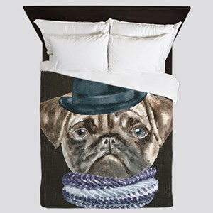 Pug Gangster Hat Scarf Dogs In Clothes Queen Duvet