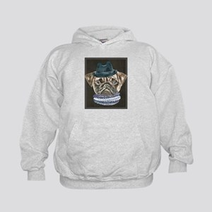 Pug Gangster Hat Scarf Dogs In Clothes Sweatshirt