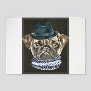 Pug Gangster Hat Scarf Dogs In Clot 5'x7'Area Rug