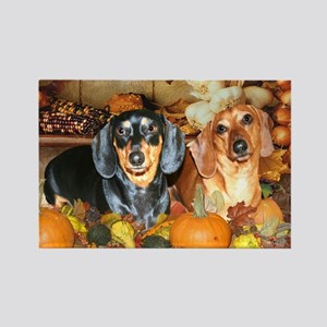 Autumn Dachshunds Rectangle Magnet