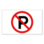No Parking Sign - Rectangle Sticker