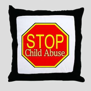 Stop Abuse Throw Pillow