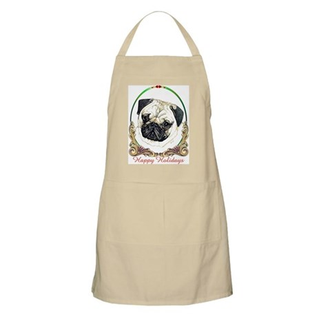 Pug Happy Holiday BBQ Apron