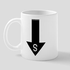 Archaeologist south arrow Mug