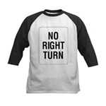 No Right Turn Sign Kids Baseball Jersey