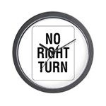 No Right Turn Sign - Wall Clock