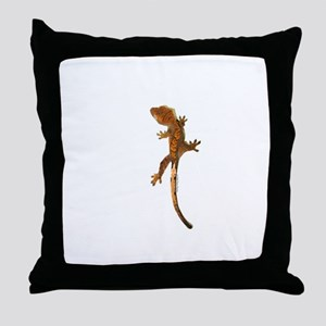 """Crested Gecko Climbing"" Throw Pillow"