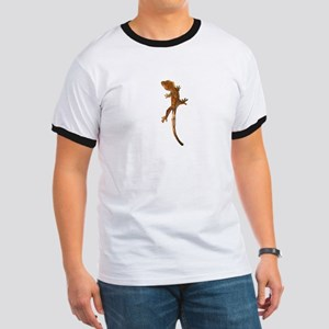 """Crested Gecko Climbing"" Ringer T"