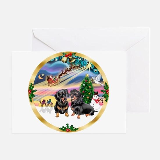 XmasMagic/2 Dachshunds Greeting Card