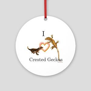 I Love Crested Geckos Ornament (Round)