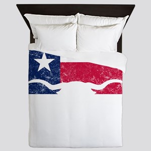 Texas Styate Flag Longhorn Queen Duvet