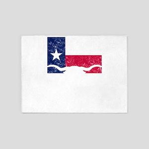 Texas Styate Flag Longhorn 5'x7'Area Rug