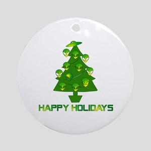 Alien Christmas Tree Round Ornament