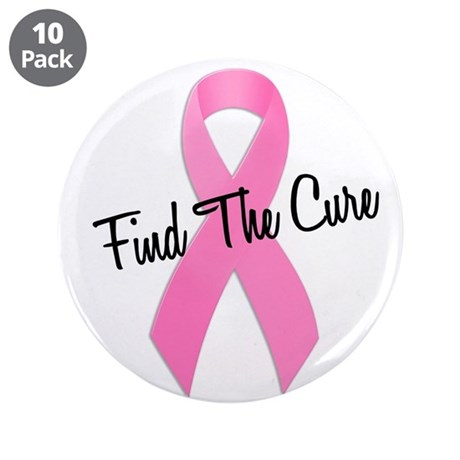 """Pink Ribbon Find The Cure 3.5"""" Button (10 pack)"""