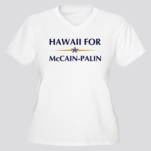 HAWAII for McCain-Palin Women's Plus Size V-Neck T